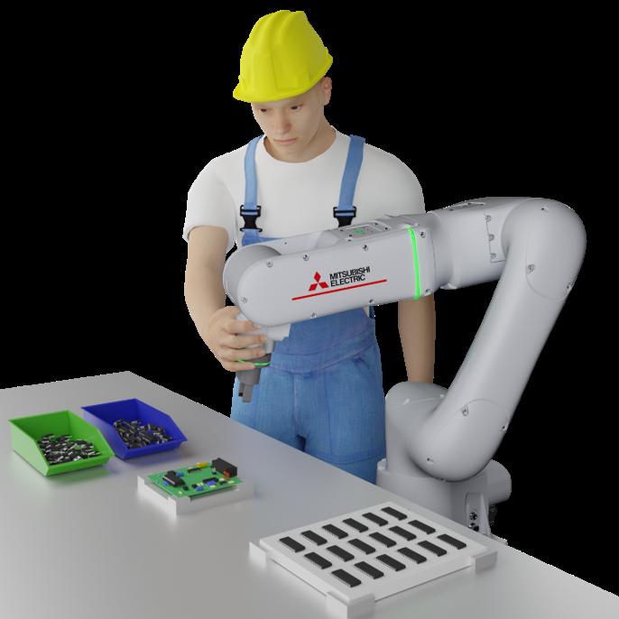 Kolaborativni roboti Mitsubishi Electric nude iznimnu preciznost, dugi životni vek, sve kolaborativne funkcije i industrijski dizajn robotske ruke.